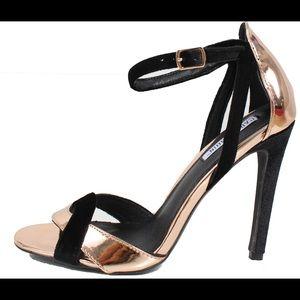 Gold metallic Open toe ankle strap heels sandal